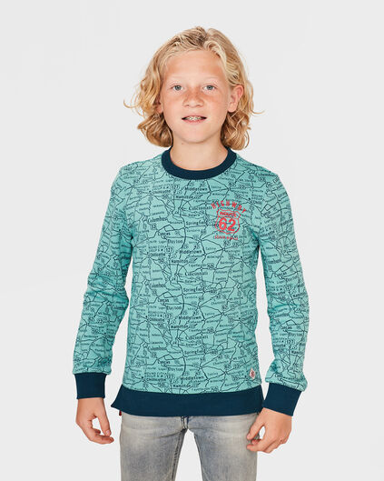 JONGENS MAP PRINT SWEATER Blauw