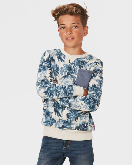 JONGENS TROPICAL PRINT SWEATER Gebroken wit