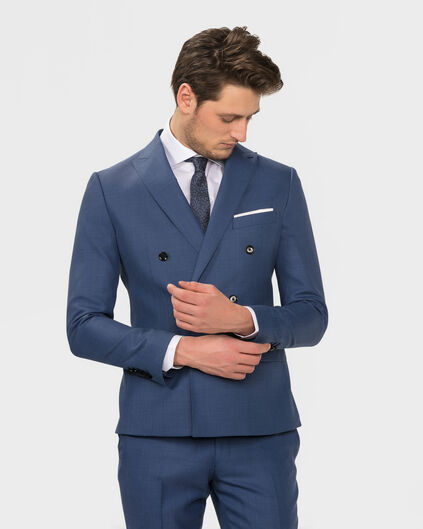 HEREN ULTRA SLIM FIT DOUBLE BREASTED BLAZER FABIANO Blauw