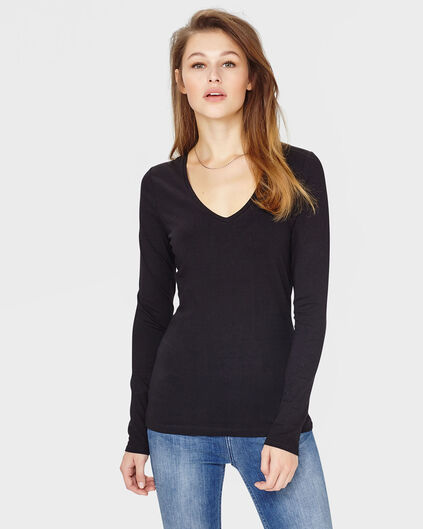 DAMES ORGANIC COTTON V-NECK SHIRT Zwart