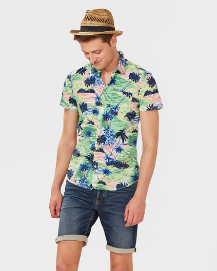 HEREN REGULAR FIT PALM TREE PRINT OVERHEMD Groen