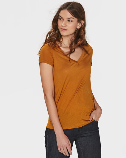 DAMES LYOCELL V-NECK T-SHIRT Goud