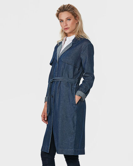 DAMES BLUE RIDGE DENIM TRENCHCOAT Donkerblauw