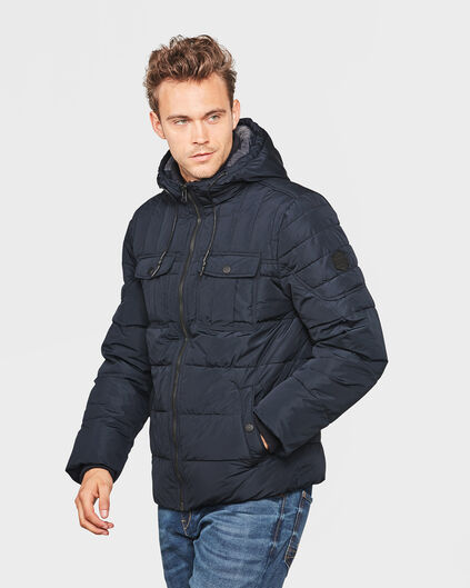 HEREN HOODED PADDED JACKET Blauw