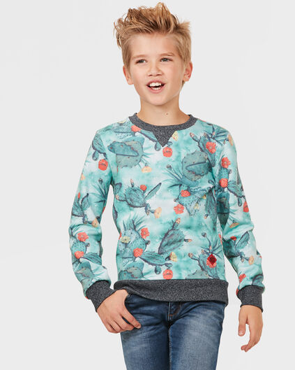 JONGENS ALL-OVER CACTUS PRINT SWEATER Wit
