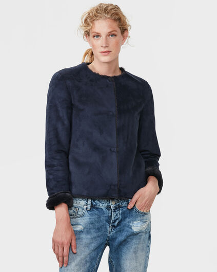 DAMES NAVY LAMMY REVERSIBLE JACKET Donkerblauw