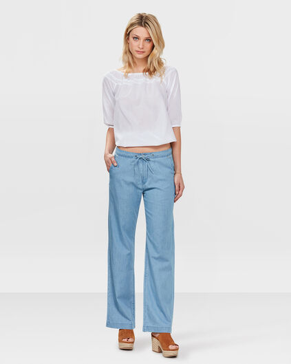 DAMES MID RISE SLOUCHY FLARE JEANS Lichtblauw