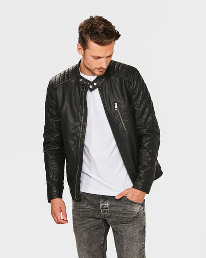 HEREN FAUX LEATHER BIKER JACKET Zwart