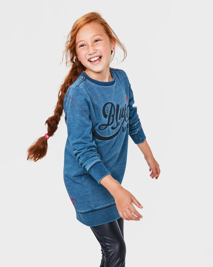MEISJES BLUE RIGDE SWEATER DRESS Blauw
