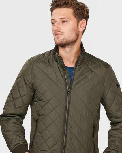 HEREN QUILTED JACKET Donkergroen