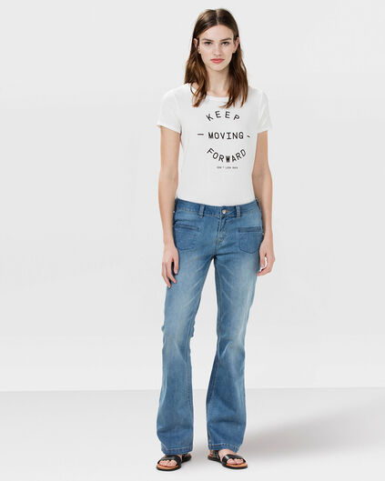 DAMES MID RISE SKINNY FLARE JEANS Blauw