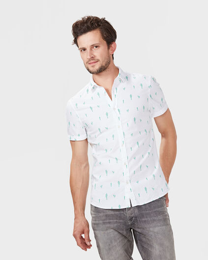 HEREN SLIM FIT CACTUS PRINT OVERHEMD Wit