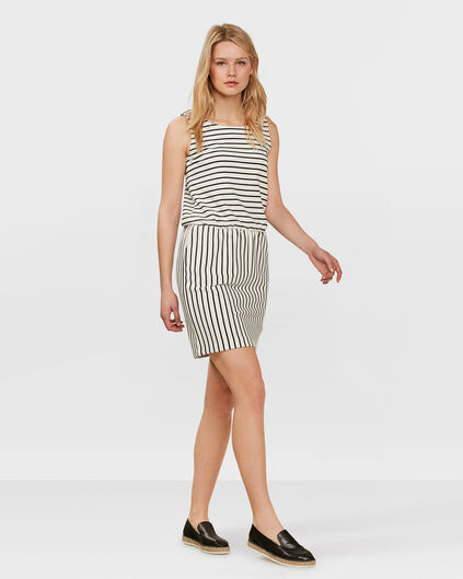 DAMES SLEEVELESS STRIPE JURK Gebroken wit