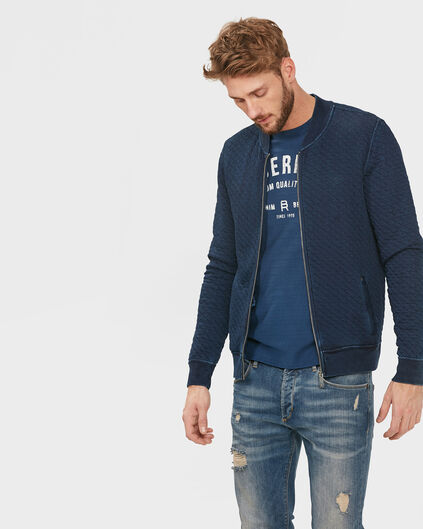 HEREN STRUCTURED  ZIP SWEATVEST Indigo