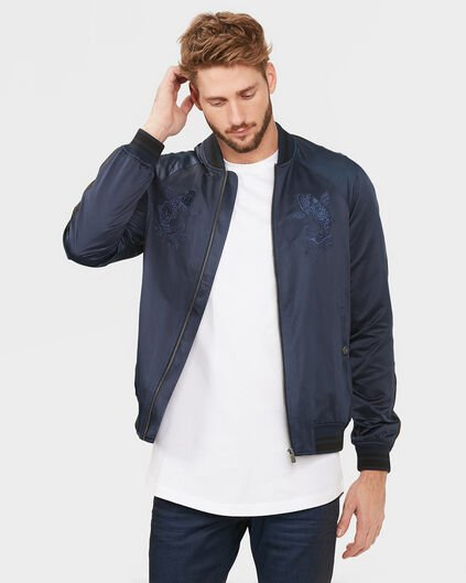 HEREN EMBROIDERED BOMBER JACKET Marineblauw