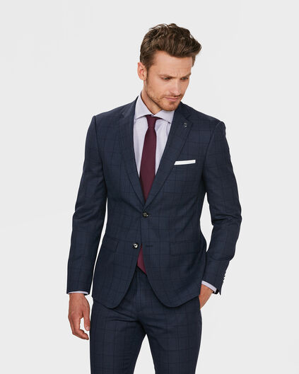 HEREN REGULAR FIT CHECKED BLAZER BLACKBURN Blauw