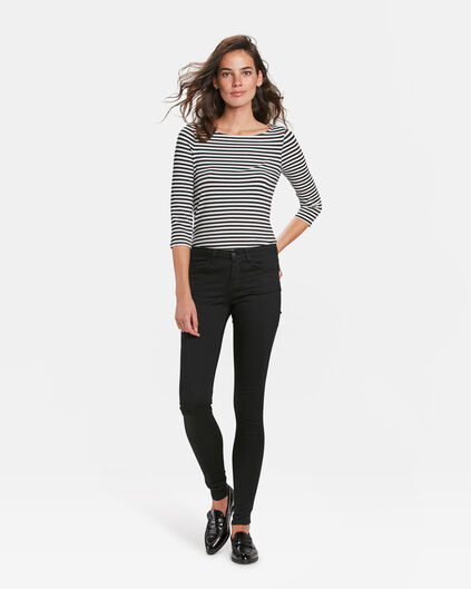 DAMES MID RISE SUPER SKINNY BLACK DENIM JEANS Zwart