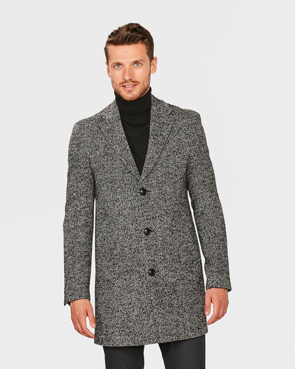 HEREN SLIM FIT WOOL BLEND TOPCOAT Donkergrijs gemeleerd