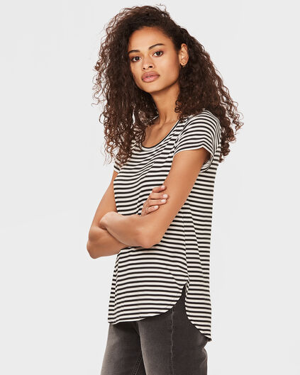 DAMES STRIPE PRINT TOP Zwart