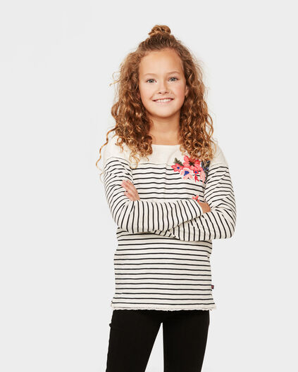 MEISJE STRIPED FLOWER T-SHIRT Wit