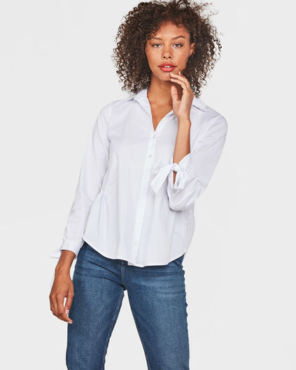 DAMES BOW CUFF BLOUSE Wit