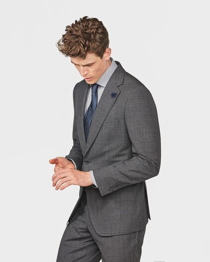 HEREN FINE CHECKED SLIM FIT BLAZER DAWLEY Donkergrijs