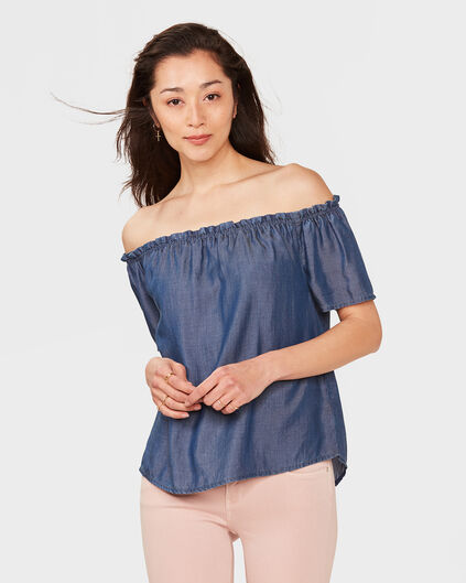 DAMES LYOCELL OFF-SHOULDER TOP Blauw