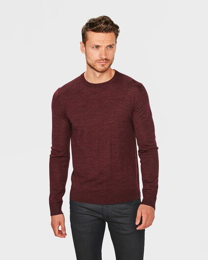 HEREN MERINO WOL R-NECK TRUI Bordeauxrood