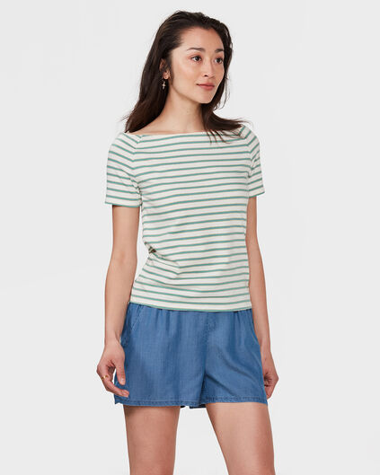 DAMES GLITTERY STRIPE TOP Mintgroen