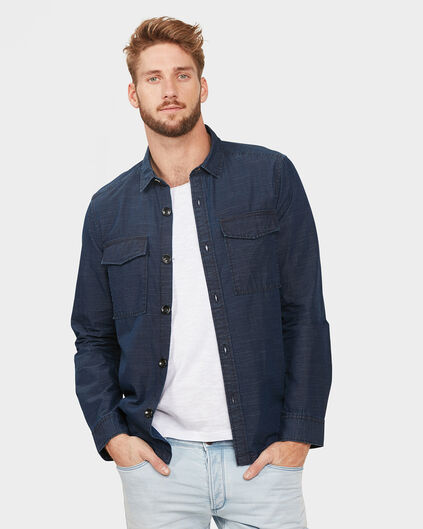 HEREN SLIM FIT WORKER SHIRT JACKET Donkerblauw