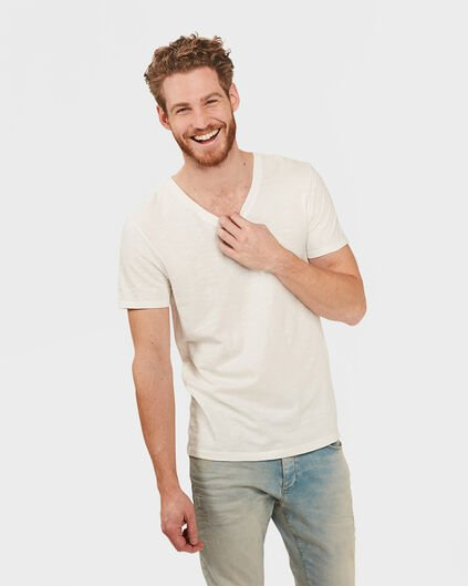 HEREN ORGANIC COTTON  V-NECK T-SHIRT Gebroken wit