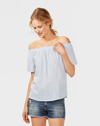 DAMES STRIPE OFF SHOULDER TOP Lichtblauw