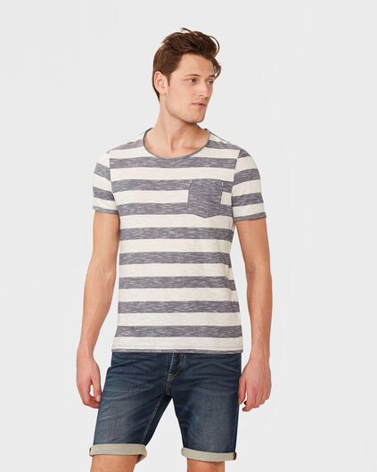HEREN ONE POCKET STRIPE T-SHIRT Donkerblauw