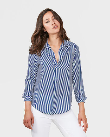 DAMES STRIPE BLOUSE Blauw