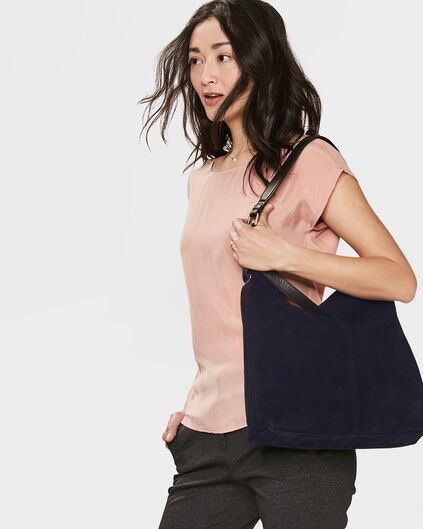 DAMES REAL LEATHER SHOPPER Blauw