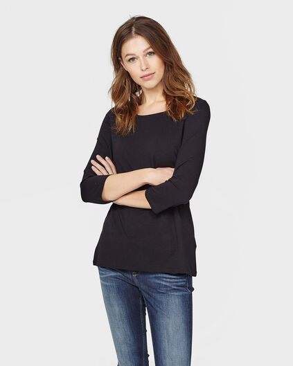 DAMES  BOAT NECK SHIRT Zwart