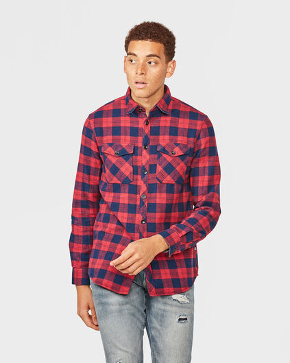 HEREN BLUE RIDGE RELAXED FIT FLANEL CHECK OVERHEMD Donkerblauw