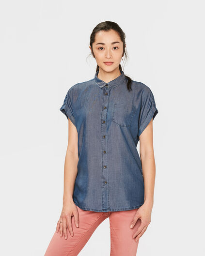 DAMES RELAXED FIT DENIM BLOUSE Blauw