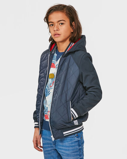 JONGENS QUILTED HOODED JACKET Donkerblauw