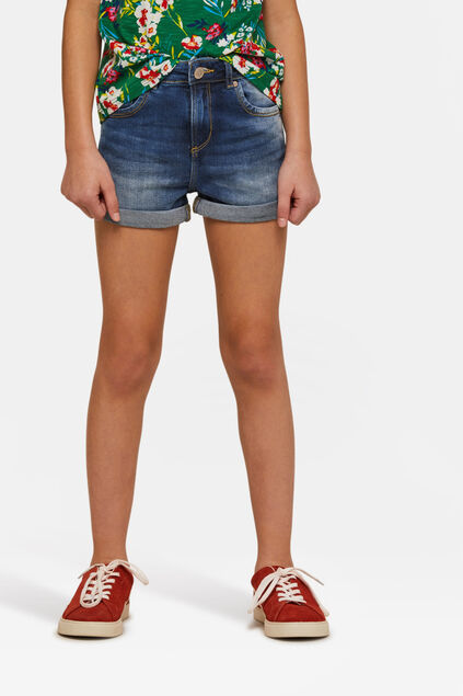 Short jog denim fille Bleu