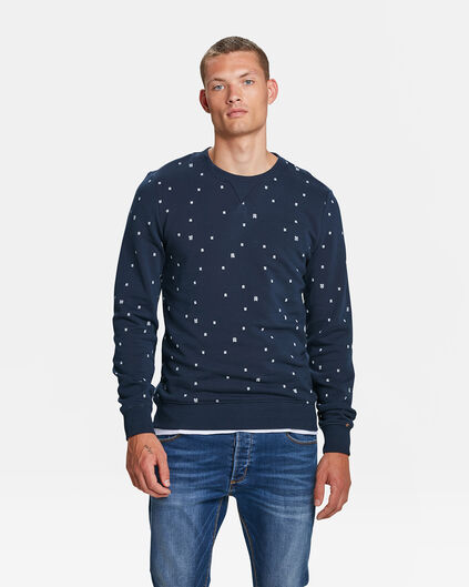 HEREN BLUE RIDGE LOGO PRINT SWEATER Marineblauw