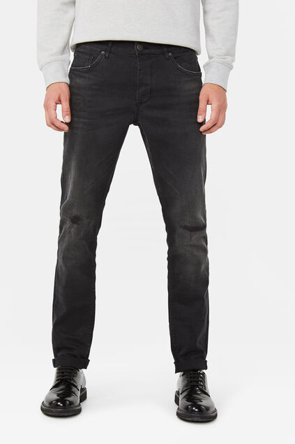 Heren slim tapered comfort stretch jeans Zwart