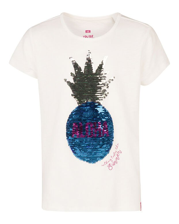 MEISJES PINEAPPLE OMKEERBARE PAILLETTEN T-SHIRT Wit
