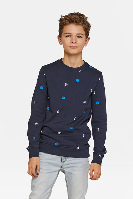 Jongens logoprint sweater Marineblauw