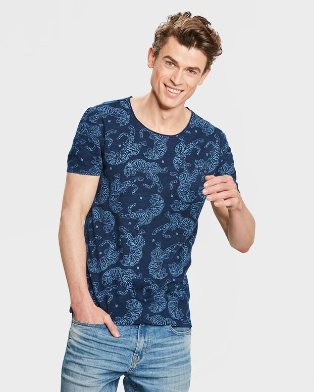 T-SHIRT BLUE RIDGE TIGER PRINT HOMME Indigo