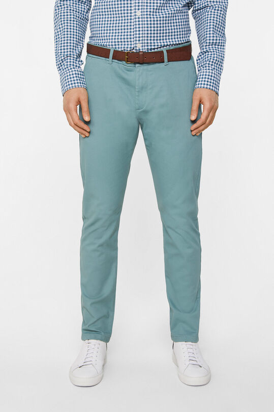 Heren effen slim tapered chino Grijsgroen