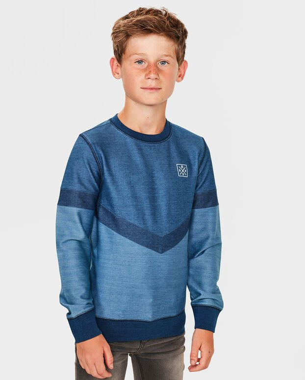 SWEAT-SHIRT COLOR BLOCK GARÇON Bleu