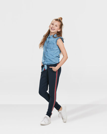 MEISJES SPORTY STRIPE SKINNY FIT SWEATBROEK Donkerblauw