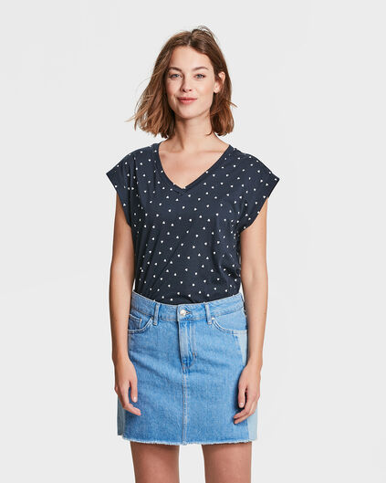 DAMES TRIANGLE PRINT T-SHIRT Donkerblauw