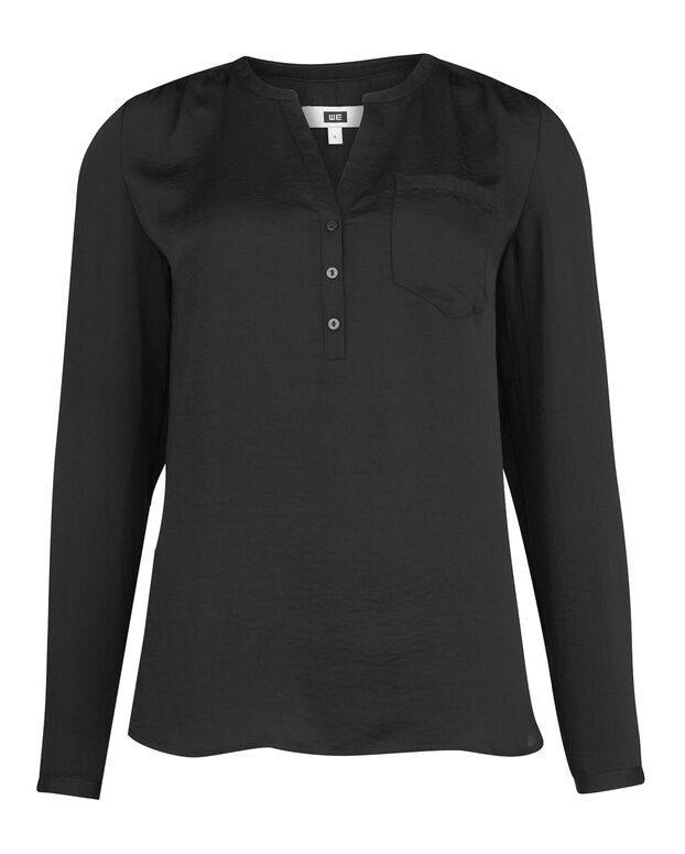 DAMES SINGLE PATCH POCKET BLOUSE Zwart